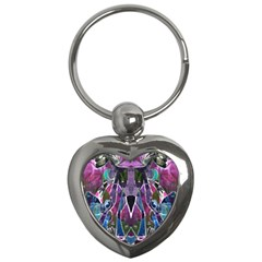 Sly Dog Modern Grunge Style Blue Pink Violet Key Chains (heart)  by EDDArt