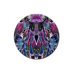 Sly Dog Modern Grunge Style Blue Pink Violet Rubber Coaster (Round)
