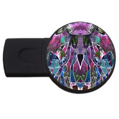Sly Dog Modern Grunge Style Blue Pink Violet Usb Flash Drive Round (2 Gb)  by EDDArt