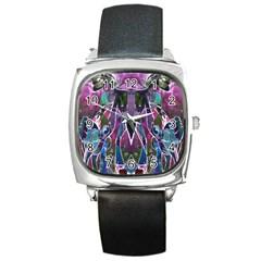 Sly Dog Modern Grunge Style Blue Pink Violet Square Metal Watch by EDDArt