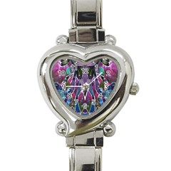 Sly Dog Modern Grunge Style Blue Pink Violet Heart Italian Charm Watch by EDDArt