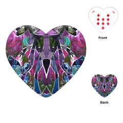 Sly Dog Modern Grunge Style Blue Pink Violet Playing Cards (heart)  by EDDArt