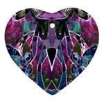Sly Dog Modern Grunge Style Blue Pink Violet Heart Ornament (2 Sides)
