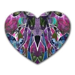 Sly Dog Modern Grunge Style Blue Pink Violet Heart Mousepads by EDDArt
