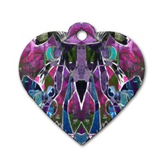 Sly Dog Modern Grunge Style Blue Pink Violet Dog Tag Heart (one Side) by EDDArt
