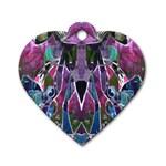 Sly Dog Modern Grunge Style Blue Pink Violet Dog Tag Heart (One Side)