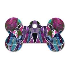 Sly Dog Modern Grunge Style Blue Pink Violet Dog Tag Bone (two Sides) by EDDArt