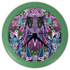 Sly Dog Modern Grunge Style Blue Pink Violet Color Wall Clocks by EDDArt