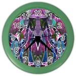 Sly Dog Modern Grunge Style Blue Pink Violet Color Wall Clocks