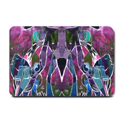Sly Dog Modern Grunge Style Blue Pink Violet Small Doormat  by EDDArt
