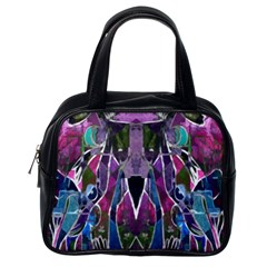 Sly Dog Modern Grunge Style Blue Pink Violet Classic Handbags (one Side) by EDDArt