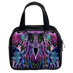 Sly Dog Modern Grunge Style Blue Pink Violet Classic Handbags (2 Sides) by EDDArt