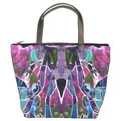 Sly Dog Modern Grunge Style Blue Pink Violet Bucket Bags by EDDArt