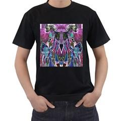 Sly Dog Modern Grunge Style Blue Pink Violet Men s T Shirt (black) by EDDArt