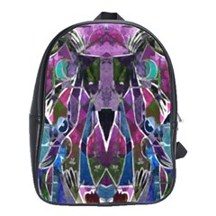 Sly Dog Modern Grunge Style Blue Pink Violet School Bags(large)  by EDDArt