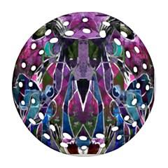 Sly Dog Modern Grunge Style Blue Pink Violet Ornament (round Filigree)  by EDDArt