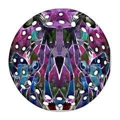 Sly Dog Modern Grunge Style Blue Pink Violet Round Filigree Ornament (2side) by EDDArt