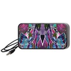 Sly Dog Modern Grunge Style Blue Pink Violet Portable Speaker (black)  by EDDArt