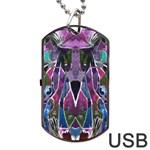 Sly Dog Modern Grunge Style Blue Pink Violet Dog Tag USB Flash (Two Sides)