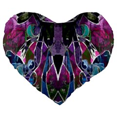 Sly Dog Modern Grunge Style Blue Pink Violet Large 19  Premium Heart Shape Cushions by EDDArt