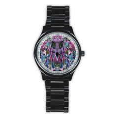 Sly Dog Modern Grunge Style Blue Pink Violet Stainless Steel Round Watch by EDDArt