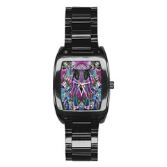 Sly Dog Modern Grunge Style Blue Pink Violet Stainless Steel Barrel Watch by EDDArt