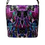 Sly Dog Modern Grunge Style Blue Pink Violet Flap Messenger Bag (L)
