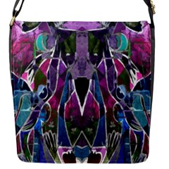 Sly Dog Modern Grunge Style Blue Pink Violet Flap Messenger Bag (s) by EDDArt