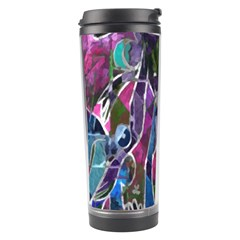 Sly Dog Modern Grunge Style Blue Pink Violet Travel Tumbler by EDDArt