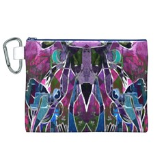Sly Dog Modern Grunge Style Blue Pink Violet Canvas Cosmetic Bag (xl) by EDDArt