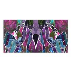 Sly Dog Modern Grunge Style Blue Pink Violet Satin Shawl by EDDArt