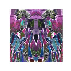 Sly Dog Modern Grunge Style Blue Pink Violet Small Satin Scarf (square) by EDDArt