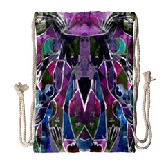 Sly Dog Modern Grunge Style Blue Pink Violet Drawstring Bag (large) by EDDArt
