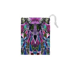 Sly Dog Modern Grunge Style Blue Pink Violet Drawstring Pouches (xs)  by EDDArt