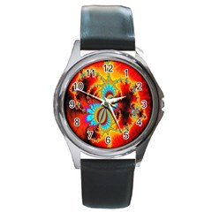 Crazy Mandelbrot Fractal Red Yellow Turquoise Round Metal Watch by EDDArt