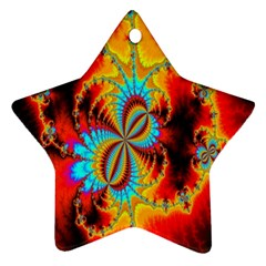 Crazy Mandelbrot Fractal Red Yellow Turquoise Ornament (star)  by EDDArt