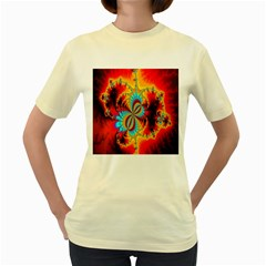 Crazy Mandelbrot Fractal Red Yellow Turquoise Women s Yellow T Shirt by EDDArt