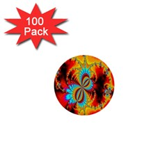 Crazy Mandelbrot Fractal Red Yellow Turquoise 1  Mini Buttons (100 Pack)  by EDDArt