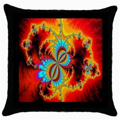 Crazy Mandelbrot Fractal Red Yellow Turquoise Throw Pillow Case (black) by EDDArt