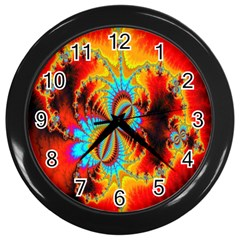 Crazy Mandelbrot Fractal Red Yellow Turquoise Wall Clocks (black) by EDDArt