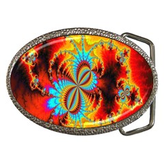 Crazy Mandelbrot Fractal Red Yellow Turquoise Belt Buckles by EDDArt