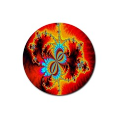 Crazy Mandelbrot Fractal Red Yellow Turquoise Rubber Coaster (round)  by EDDArt