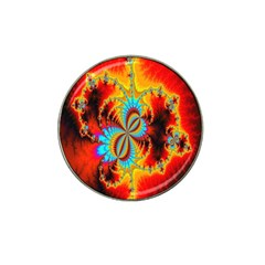Crazy Mandelbrot Fractal Red Yellow Turquoise Hat Clip Ball Marker (10 Pack) by EDDArt
