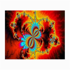 Crazy Mandelbrot Fractal Red Yellow Turquoise Small Glasses Cloth by EDDArt