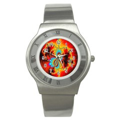 Crazy Mandelbrot Fractal Red Yellow Turquoise Stainless Steel Watch by EDDArt