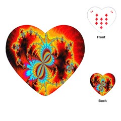 Crazy Mandelbrot Fractal Red Yellow Turquoise Playing Cards (heart)  by EDDArt
