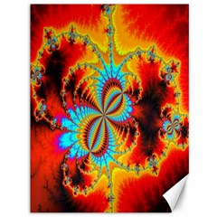 Crazy Mandelbrot Fractal Red Yellow Turquoise Canvas 36  X 48   by EDDArt