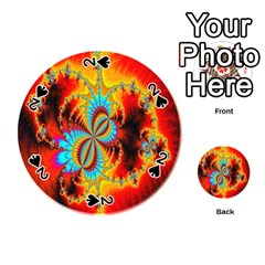 Crazy Mandelbrot Fractal Red Yellow Turquoise Playing Cards 54 (round)  by EDDArt