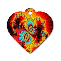 Crazy Mandelbrot Fractal Red Yellow Turquoise Dog Tag Heart (one Side) by EDDArt