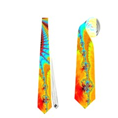 Crazy Mandelbrot Fractal Red Yellow Turquoise Neckties (two Side)  by EDDArt